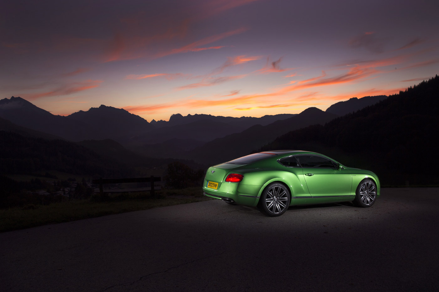 <p>Bentley Continental GT Speed in Apple Green, photographed at sunset in Austria.</p>