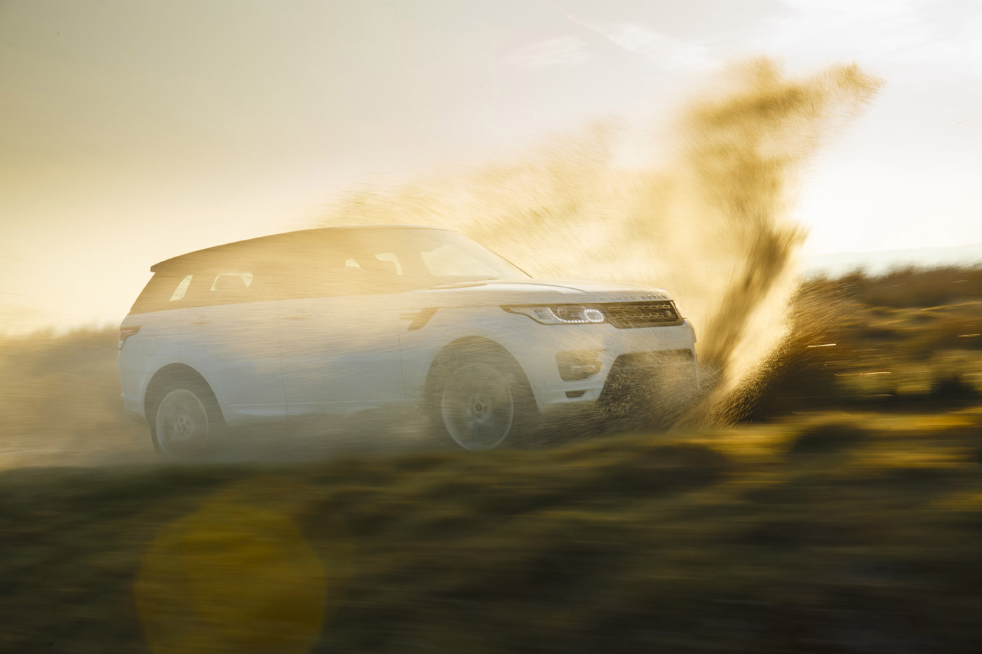 <p>Range Rover Sport at speed off-road in Wales. </p>