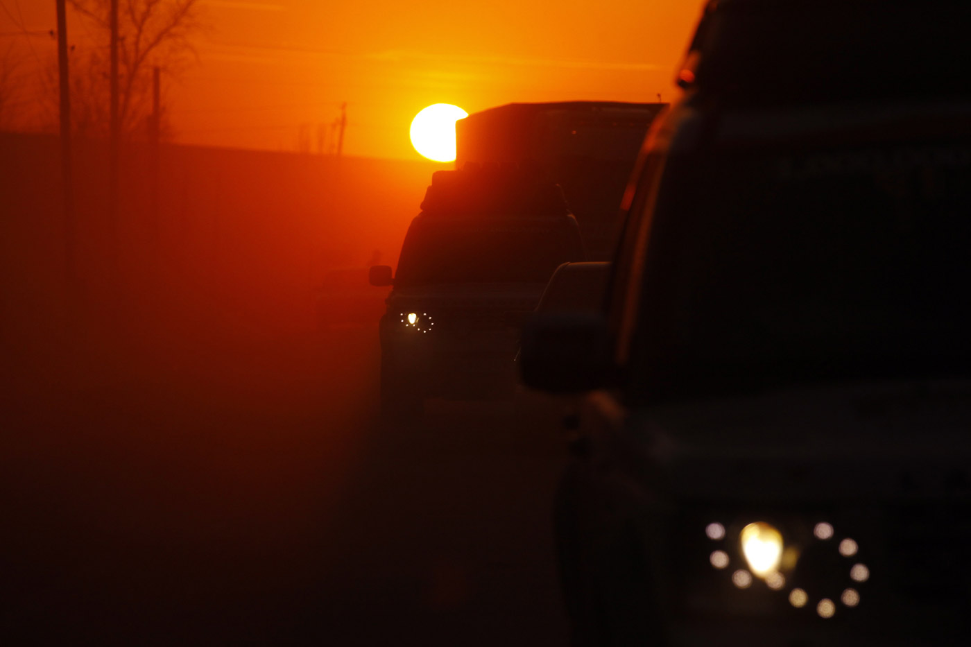 <p>Sunset in Kazakhstan on a dusty road during the Journey of Discovery drive from Birmingham to Beijing.</p>