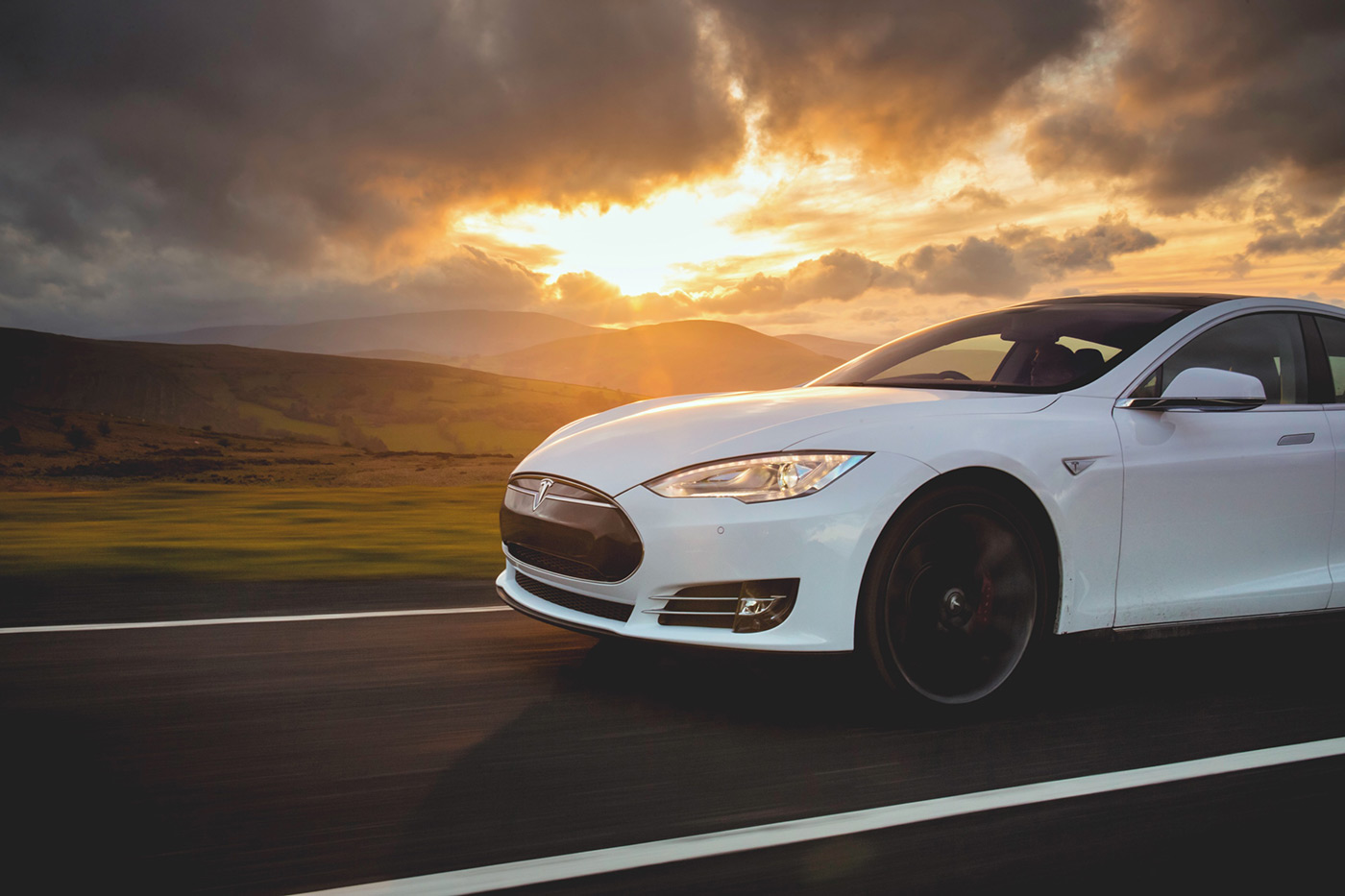 <p>The all-electric Tesla at sunset in Wales.</p>