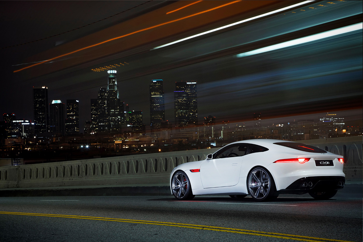<p>Jaguar C-X16 on the now-demolished Sixth Street Bridge overlooking downtown Los Angeles.</p>