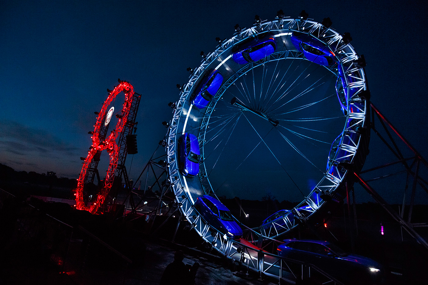 <p>The global reveal of the Jaguar F-PACE included this loop the loop stunt on the eve of the Frankfurt Motor Show.  Multiple exposure to show the track of the car.</p>