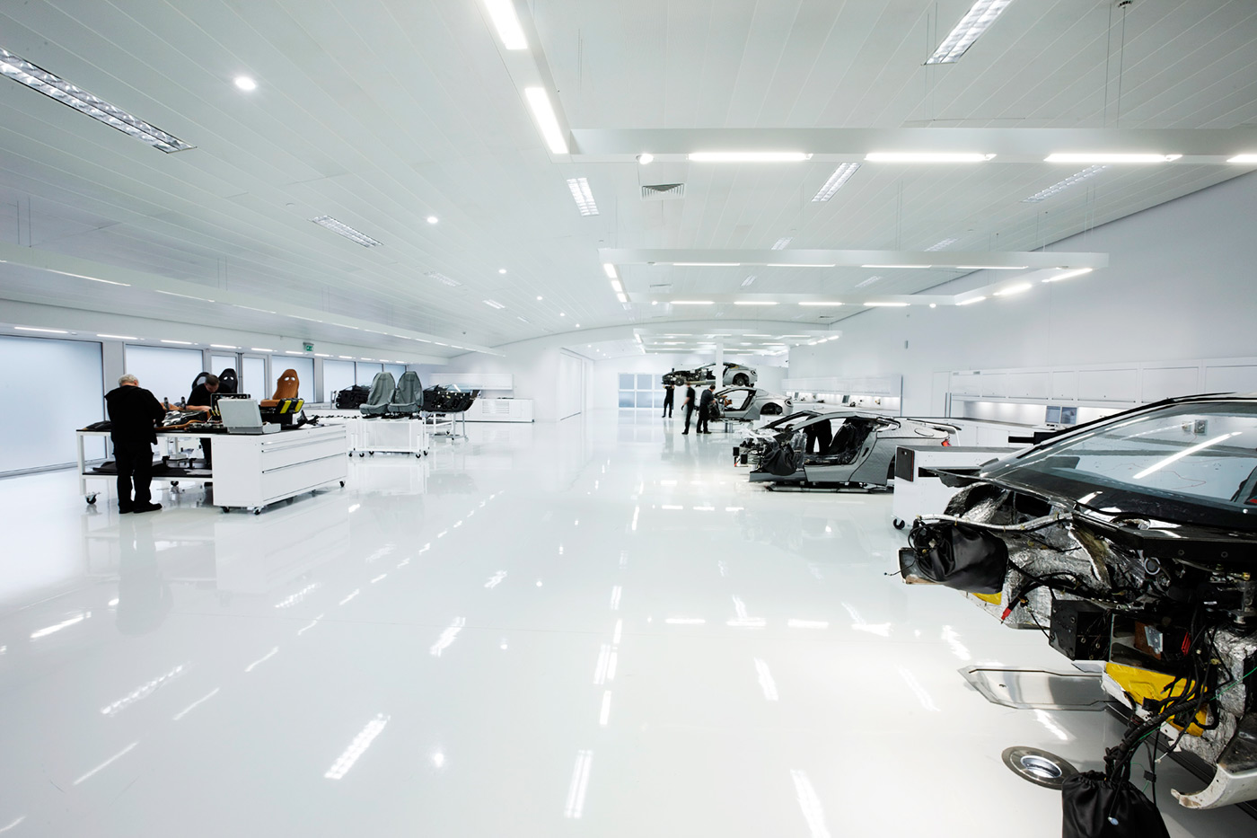 <p>The immaculate special production facility at Aston Martin, here building the first batch of One-77 supercars.</p>