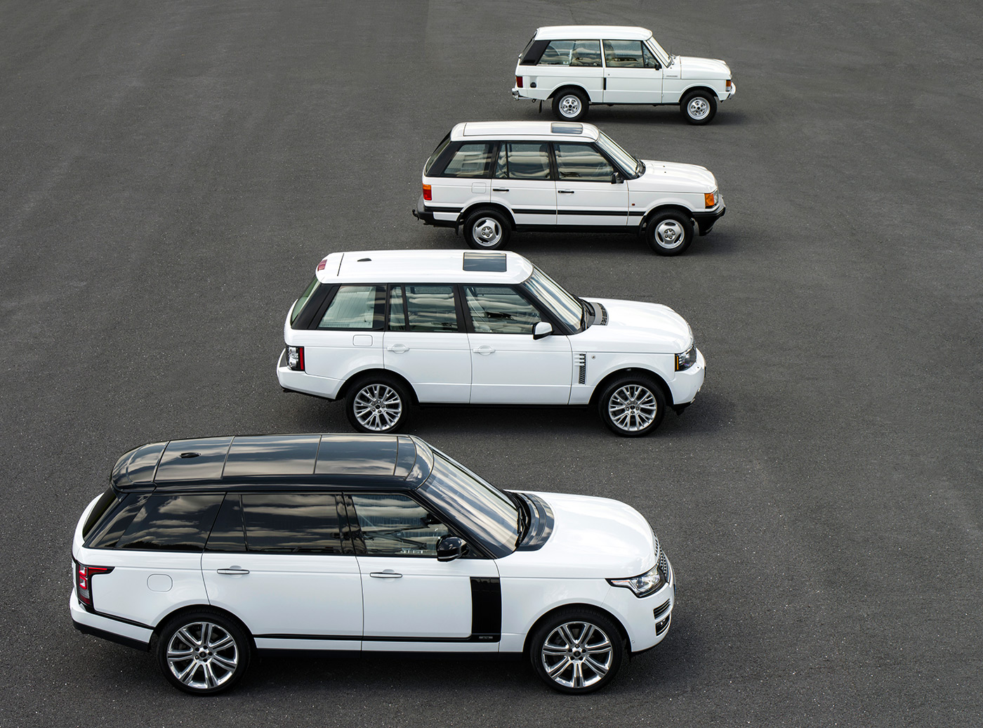 <p>Range Rovers old and new to commemorate 45 years of production. The Classic model at the top is owned by me.</p>