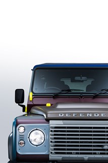 <p>The multicoloured bodywork of the Paul Smith Defender.</p>