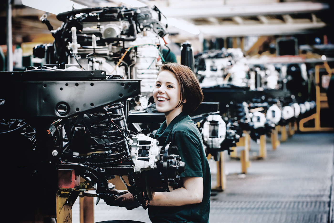 <p>The last Land Rover Defenders being built at Land Rover's Solihull factory.</p>