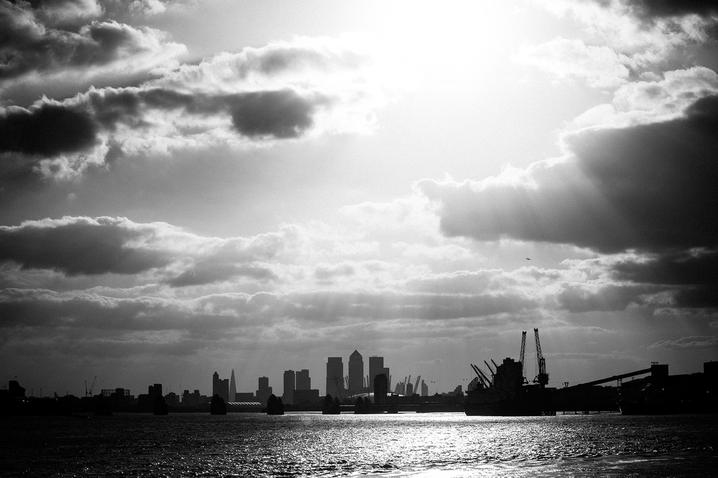 <p>London's Canary Wharf in black and white for a banking annual report.</p>