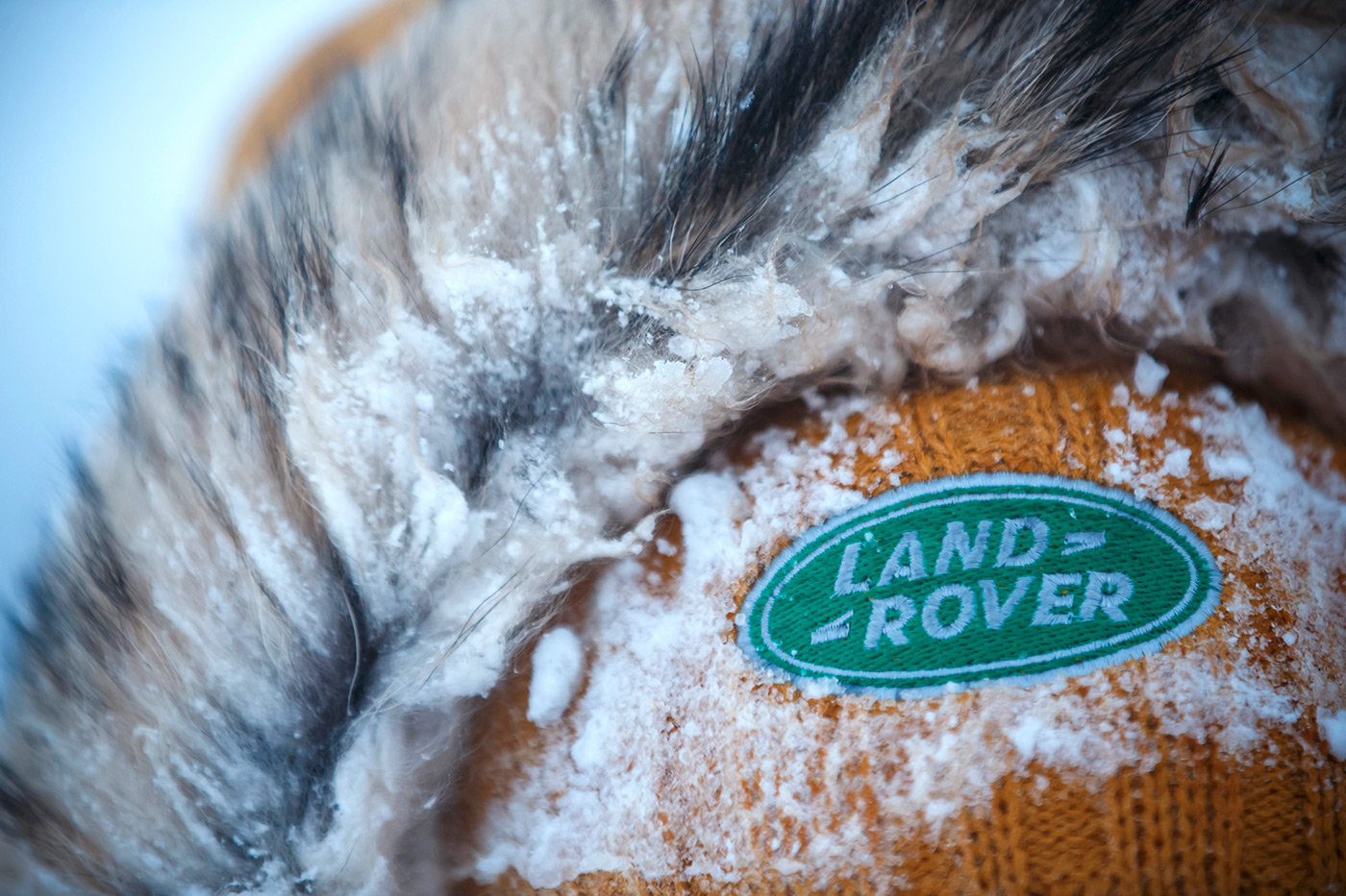 <p>Frozen Land Rover badge on 66°North hat in Iceland during the Discovery Sport launch.</p>