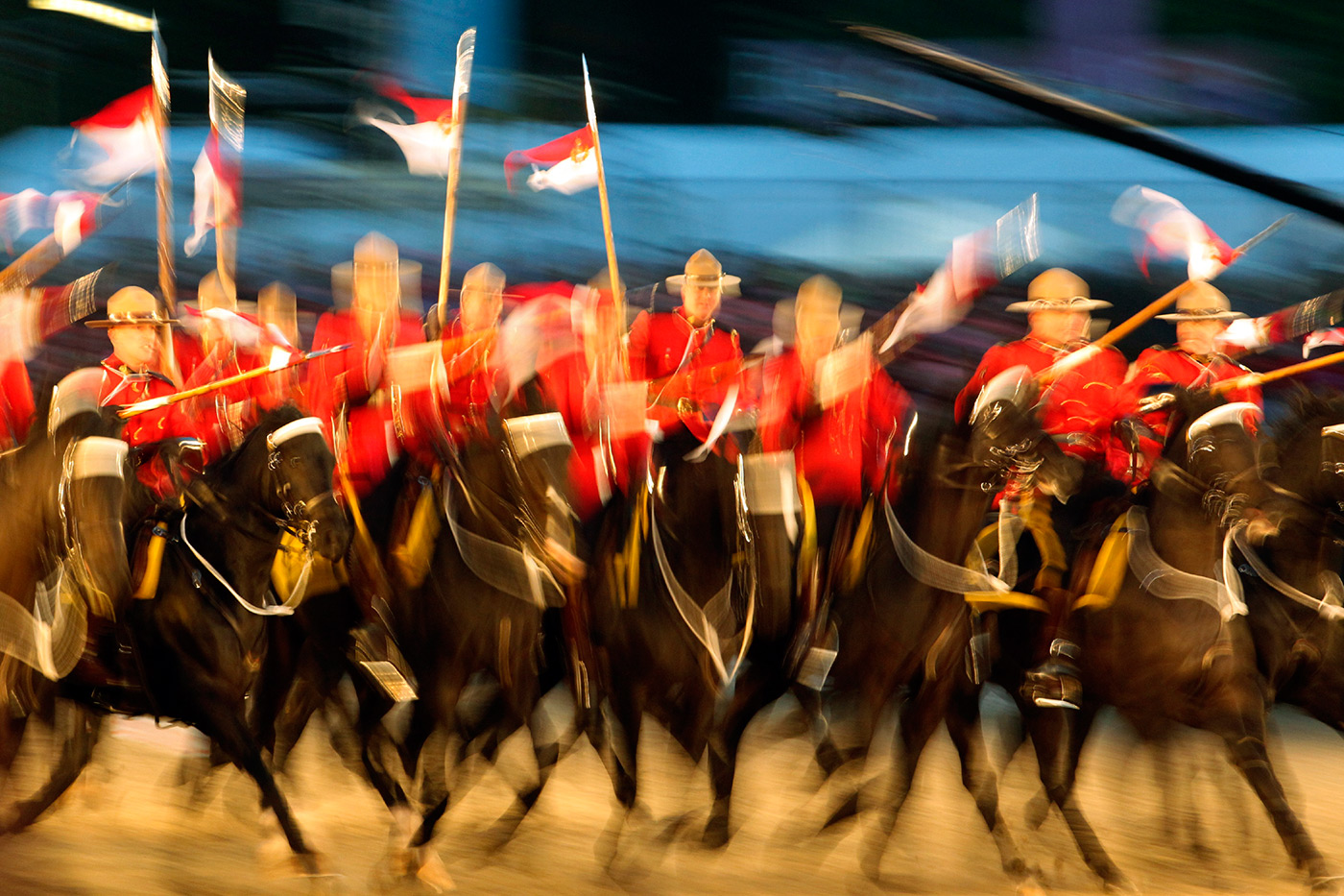 <p>Canadian Mounties at the Queen's Diamond Jubilee pageant at Royal Windsor Horse Show.</p>