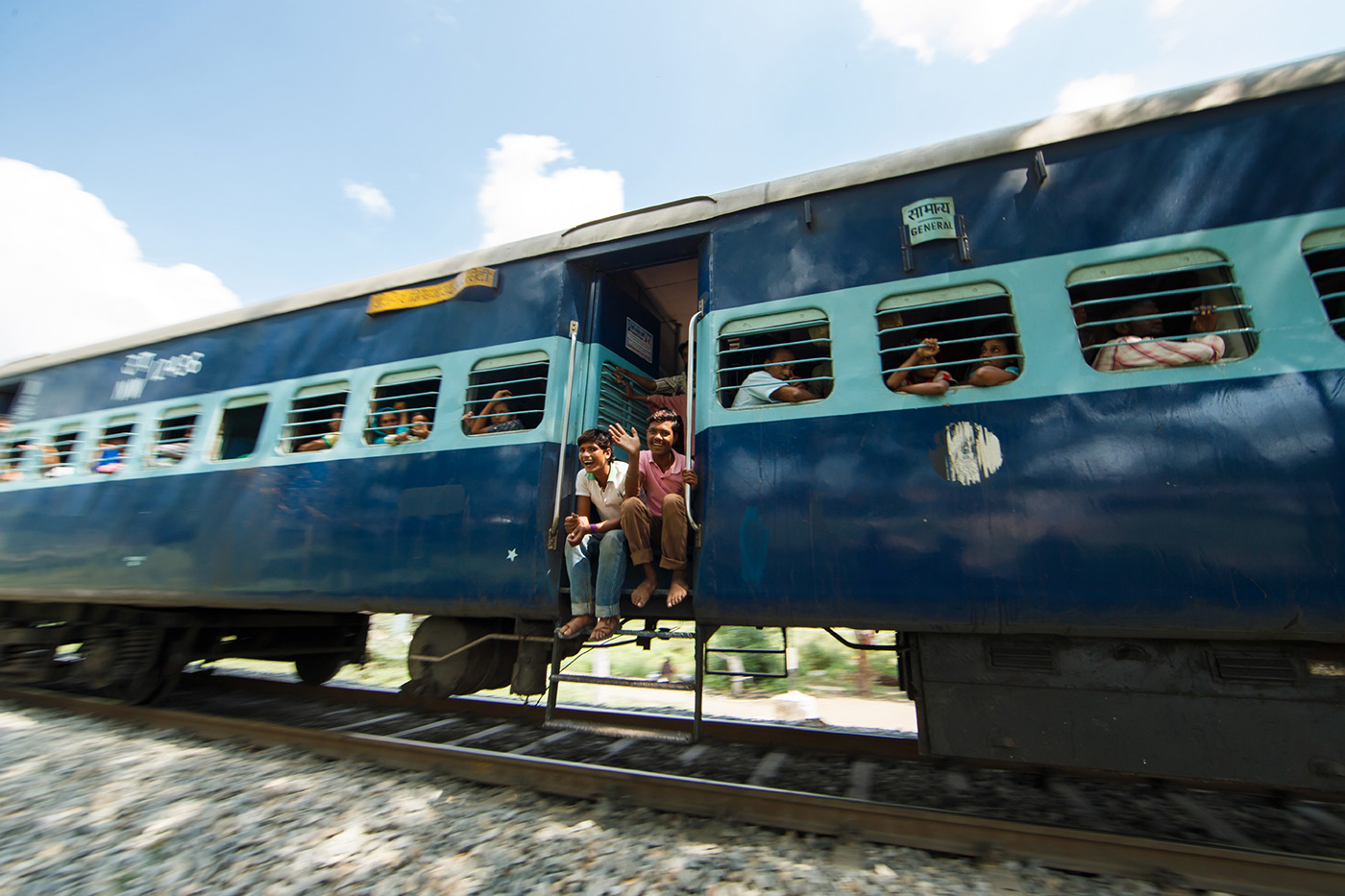 <p>Indian train on the move... Taken whilst the Range Rover Silk Trail expedition was traversing India.</p>