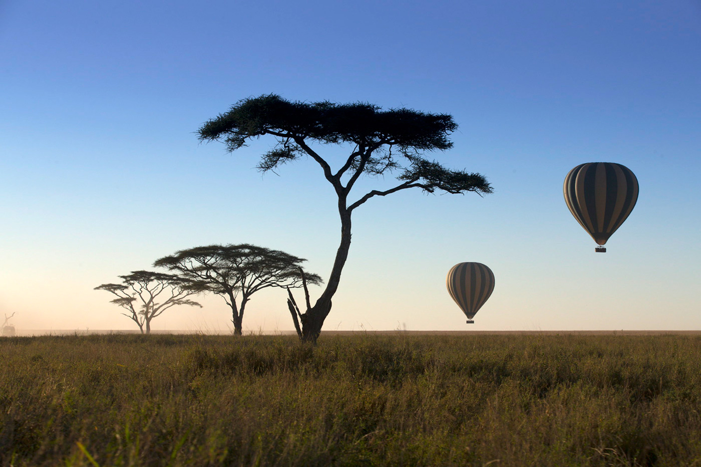 <p>Balloons floating over the desert plain in Tanzania.</p>