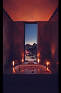 <p>The bathroom at one of the suites at the Amangiri resort in Utah. Your trusty Range Rover SVA Autobiography waits.</p>