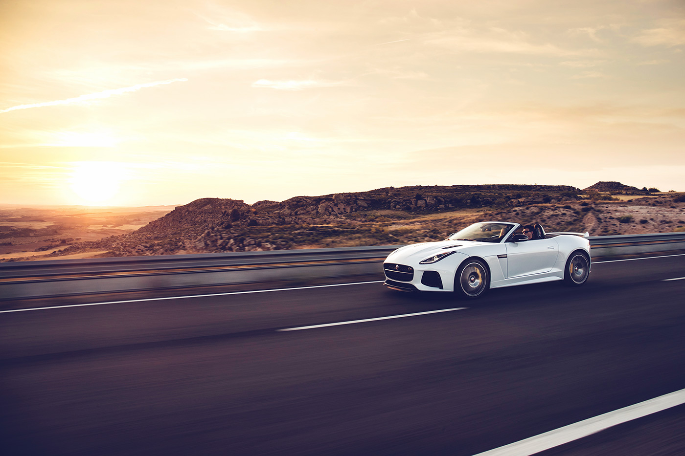 <p>Jaguar F-TYPE SVR convertible in perfect surroundings during a Spanish sunset.</p>
